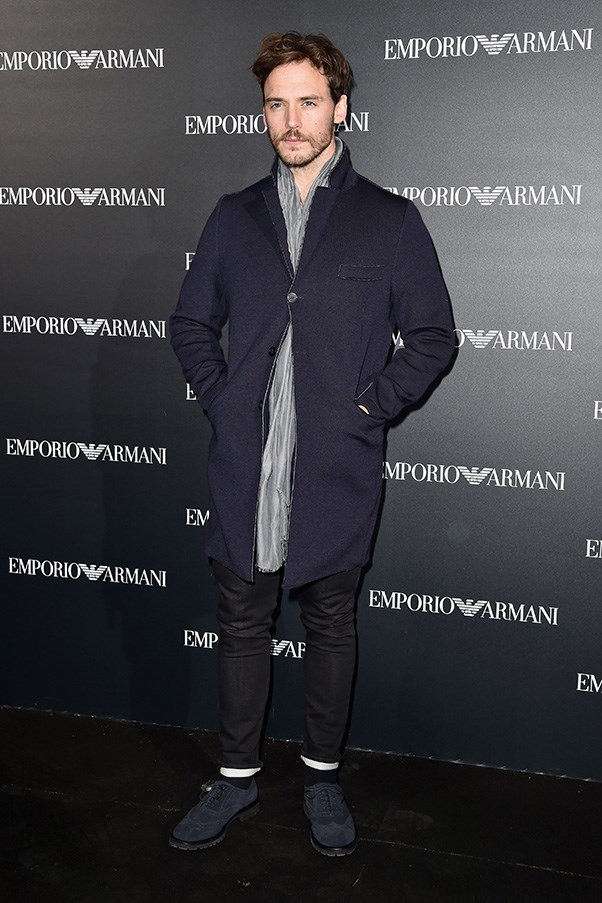 Sam Claflin at Armani