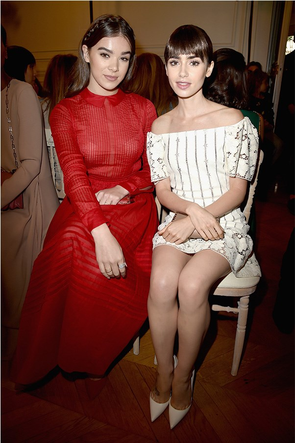 Hailey Steinfeld and Lily Collins at Valentino.