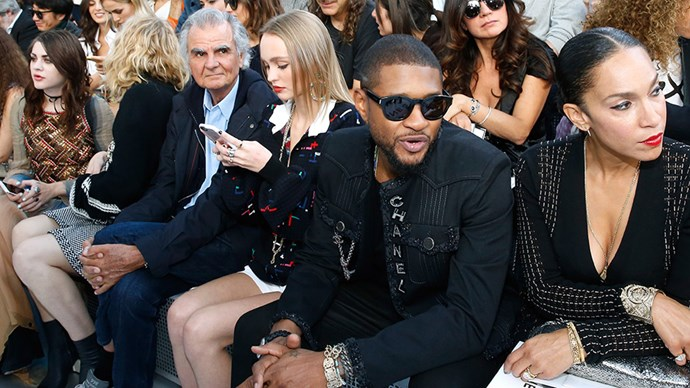 Chanel's front row, left to right: Frances Bean Cobain, Courtney Love, Patrick Demarchelier, Lily-Rose Depp, Usher and Grace Miguel.