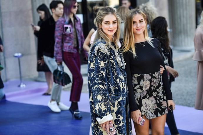 Chiara Ferragni and Valentina Ferragni at Miu Miu.