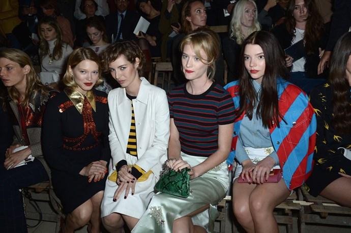 Lea Seydoux Louise Bourgoin, Mackenzie Davis and Anya Taylor-Joy at Miu Miu.