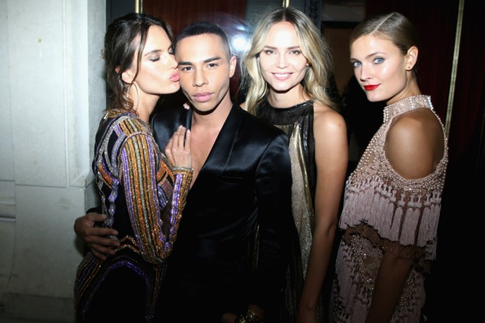 Alessandra Ambrosio, designer Olivier Rousteing, Natasha Poly and Constance Jablonski at the Balmain after party.