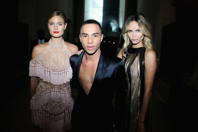 Constance Jablonski, Olivier Rousteing, and Natasha Poly at the Balmain after party.