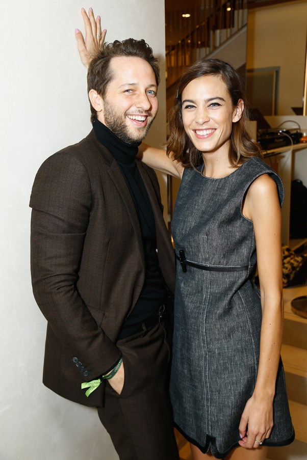 Derek Blasberg and Alexa Chung at the Longchamp Maison Saint-Honore reopening party.
