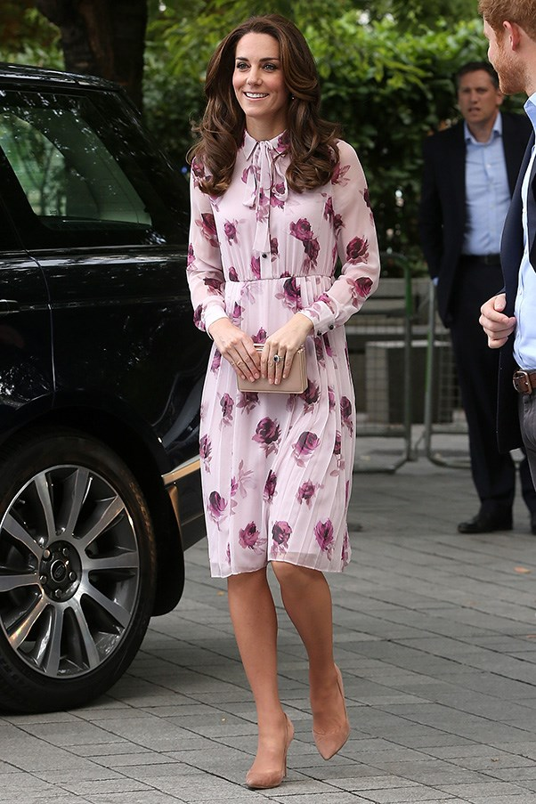 Kate opted for a spring-appropriate floral number by Kate Spade to attend a World Mental Health day event in London.