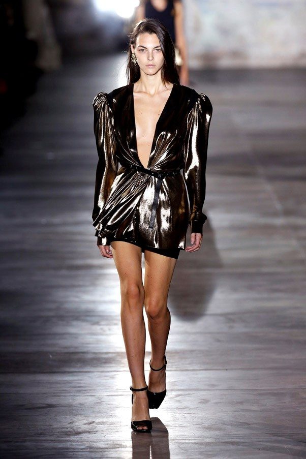 <strong>'80s Babies</strong> <br><br> From metallics to mini lengths, sequins and strong shoulders—houses from Saint Laurent to Vuitton are taking time machines back to the era of power dressing and perms. <br> Pictured: Saint Laurent