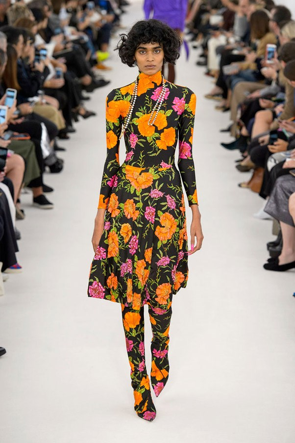 <strong>The Flower Show</strong> <br><br> While florals are a staple, the way designers approach the print is where the real story lays. For Spring, that means big, bold, graphic and colorful from the runways of Balenciaga, Gucci and more—think Slim Aarons for the Insta-generation. Pictured: Balenciaga