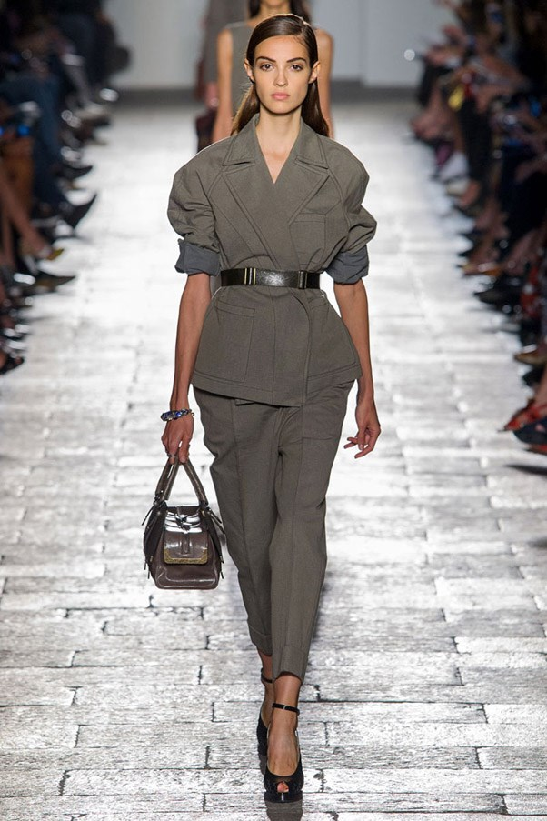 <strong>Fatigues Please</strong> <br><br> While utility might serve as the inspiration, these khakis and army greens are more about standing out than blending in—from ruffled greens at Johanna Ortiz to sheer at Balmain and mini camo at Marc Jacobs. Pictured: Bottega Veneta