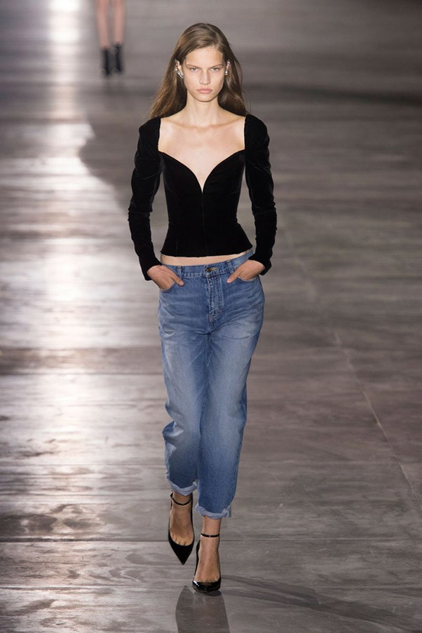 <strong>Blue Jean Queen</strong> <br><br> If the looks outside the shows on the streets are any indication, fashion lovers love nothing more than great jeans. Designers are happy to comply for Spring, with head-to-toe denim at Gucci and Versus Versace and boyfriend jeans at Saint Laurent and Dolce & Gabbana. Pictured: Saint Laurent