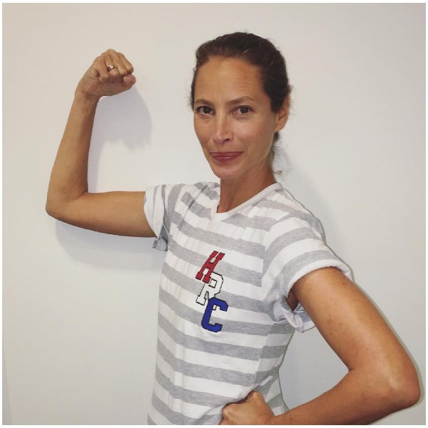 """<strong>Christy Turlington</strong> <br><br> """"I'm proud to stand strong with @HillaryClinton in new @TanyaTaylor #MadeforHistory tee."""" <br><br> Tee: Tanya Taylor <br><br> Image: <a href=""""https://www.instagram.com/p/BII2unogd_x/"""">@cturlington</a>"""