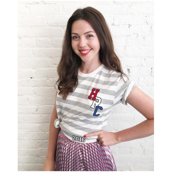 """<strong>Tanya Taylor</strong> <br><br> """"When @HillaryClinton asks you to design a campaign tee you say #HILLYES"""" <br><br> Tee: Tanya Taylor <br><br> Image: <a href=""""https://www.instagram.com/p/BIISrKogvDS/"""">@tanyataylor </a>"""