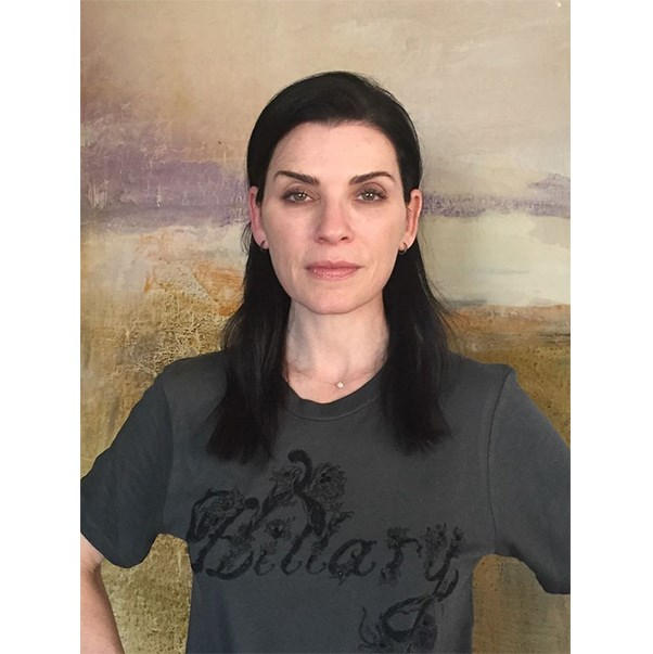"""<strong>Julianna Margulies</strong> <br><br> """"I'm loving my new Hillary Clinton #madeforhistory t-shirt."""" <br><br> Tee: Marchesa <br><br> Image: <a href=""""https://www.facebook.com/juliannamargulies/photos/a.307066948133.181378.122299903133/10154250716133134/?type=3&theater"""">Facebook</a>"""