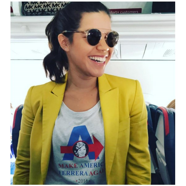 "<strong>America Ferrara</strong> <br><br> Tee: Rebecca Minkoff <br><br> Image: <a href=""https://www.instagram.com/americaferrera/"">@americaferrera</a>"
