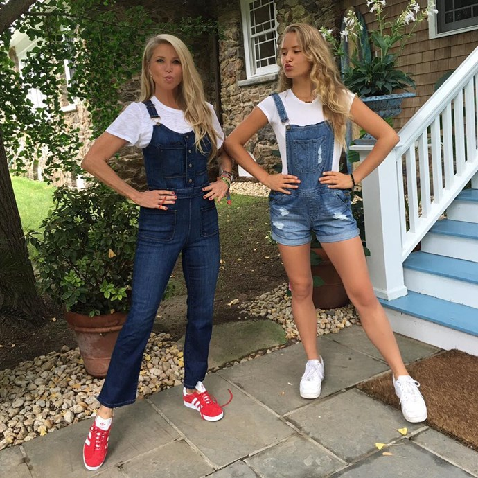 <p><strong>Christie Brinkley and Sailor Brinkley-Cook</strong> <p>Christie and her daughter Sailor exuded all-American style in their white tees, overalls and sneakers when the teenager moved to New York for college.