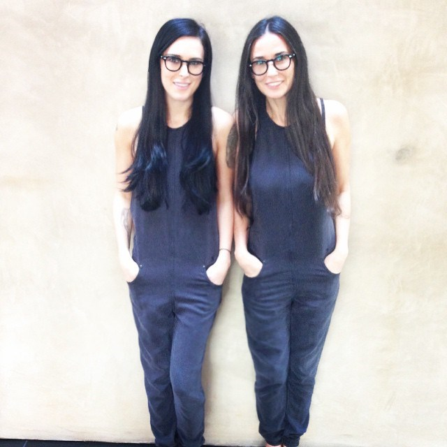 """<p><strong>Demi Moore and Rumer Willis</strong> <p>In these matching jumpsuits, Rumer experienced """"that moment you realize you are actually becoming your mother."""""""