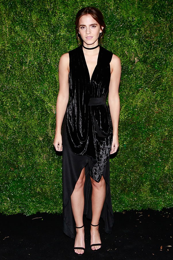 """<strong>KITX </strong> <br><br> Emma Watson stepped out in New York at the MoMA Film Benefit wearing a black velvet dress from KITX SS'17. <br><br> Dress available in store and <a href=""""http://www.kitx.com.au/"""">online</a> from February 2017."""
