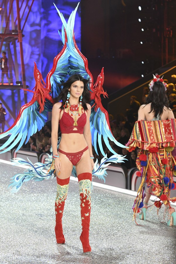 """Kendall Jenner in the Sexy Plunge Bra, $80, <a href=""""https://www.victoriassecret.com/bras/runway-themes-collection/long-line-plunge-bra-very-sexy?ProductID=317459&CatalogueType=OLS&affid=3640649&vendor=3640649"""">Victoria's Secret</a>"""