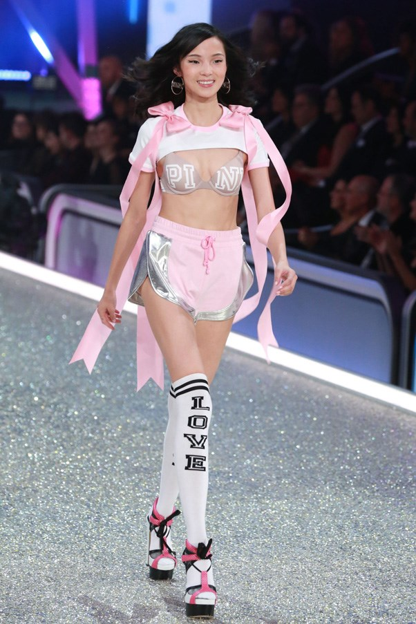 """Xiao Wen Ju in the Pink Wear Everywhere Pushup Bra, $48, <a href=""""https://www.victoriassecret.com/bras/runway-themes-collection/wear-everywhere-push-up-bra-pink?ProductID=317463&CatalogueType=OLS&quickView=true&affid=3640649&vendor=3640649"""">Victoria's Secret </a>"""
