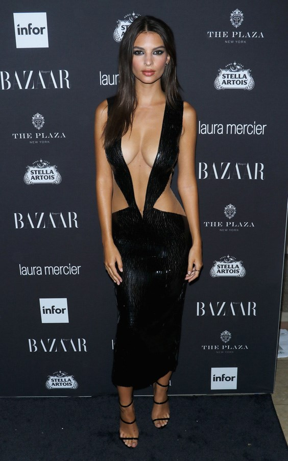 <strong>EMILY RATAJKOWSKI</strong> <br><br> Emily Ratajkowski's gravity-defying Julien Macdonald dress understandably attracted attention at the US Harper's Bazaar Icons party this September.