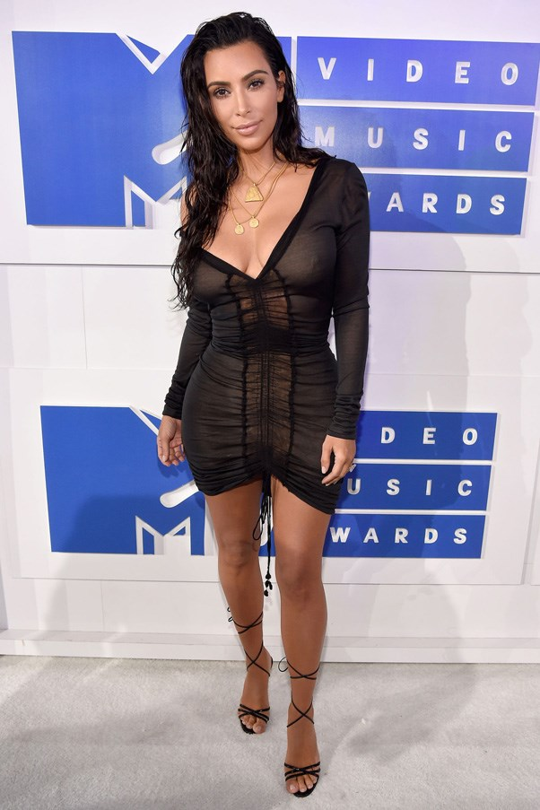 <strong>KIM KARDASHIAN</strong> <br><br> Kim Kardashian is a long-term fan of the barely there dress, as demonstrated this year when she wore a vintage John Galliano sheer mini to the MTV VMAs.