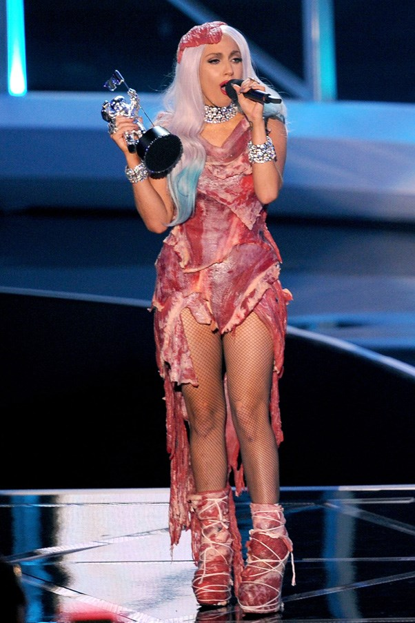<strong>LADY GAGA</strong> <br><br> Lady Gaga has worn a slew of bold looks over the years, but the meat dress she selected for the 2010 MTV VMAs still remains the most famous. Made using raw beef, it was worn as a protest against US governmental restrictions placed on the rights of gay soldiers.