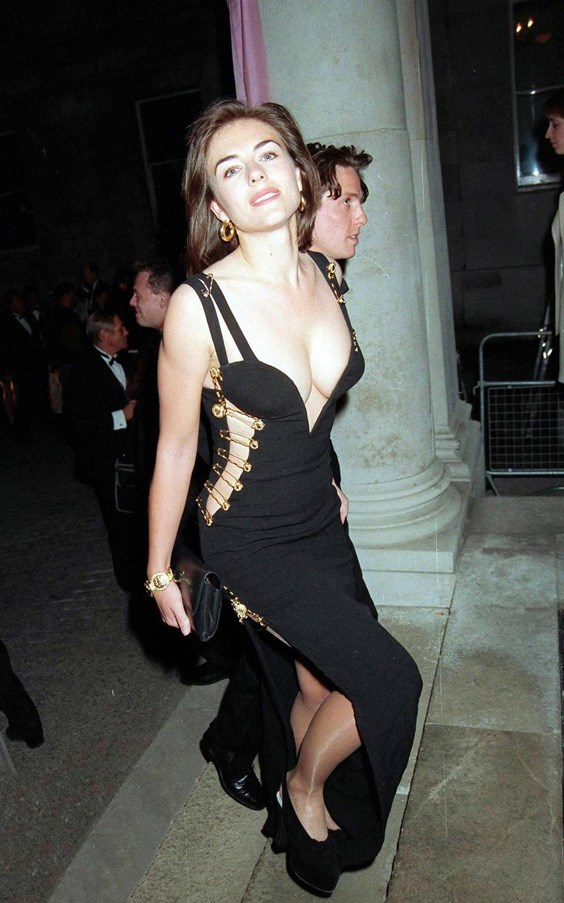 <strong>ELIZABETH HURLEY</strong> <br><br> Elizabeth Hurley upstaged her then-boyfriend Hugh Grant at the premiere of Four Weddings and a Funeral wearing a daring Versace dress, held together by safety pins.
