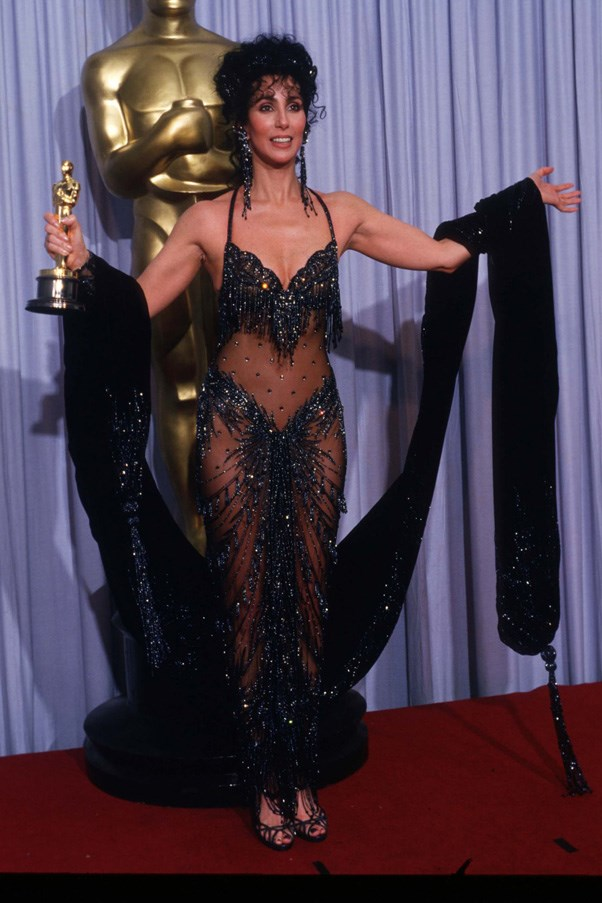 <strong>CHER</strong> <br><br> Paving the way for sheer dresses around the world was Cher with her 1988 Oscars dress. Designed by Bob Mackie, the ensemble broke red-carpet boundaries forever.