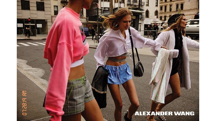 <strong>Alexander Wang</strong> <br><br> Modelled by Lexi Boling, Anna Ewers and Binx Walton, shot by Inez and Vinoodh.