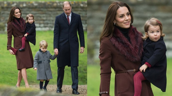 The Duchess opted for her oft-worn Hobbs Celeste coat to a Christmas service with her family (Princess Charlotte! Prince George!) in England.