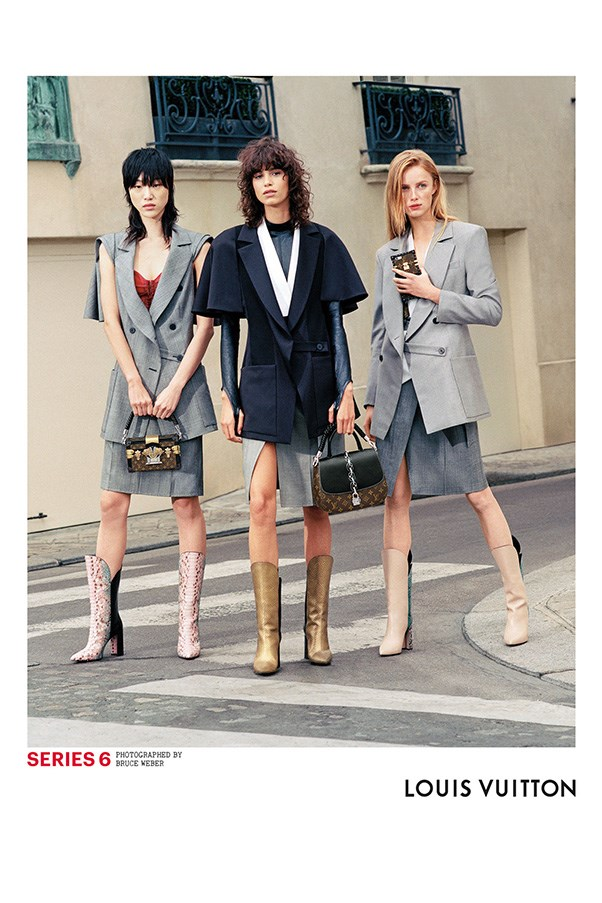 <strong>Louis Vuitton</strong><br><br> Modelled by Sora Choi, Mica Arganaraz and Rianne van Rompaey, shot by Bruce Weber.