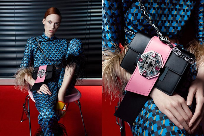 <strong>Prada</strong><br><br> Modelled by Jude Law, Kiki Willems, and Saskia de Brauw, shot by Willy Vanderperre.