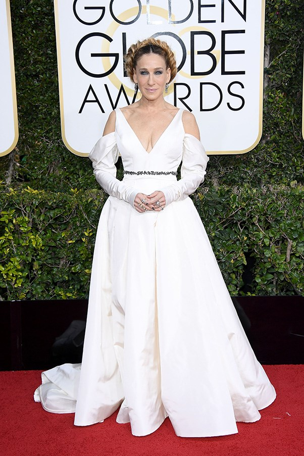 """<strong>Sarah Jessica Parker in Vera Wang</strong><br><br> """"I have defended SJP's questionable red carpet choices in the past and I'm sure I will again, but even I can't get behind this puritanical bridal look."""" - Grace O'Neill, acting digital fashion editor"""