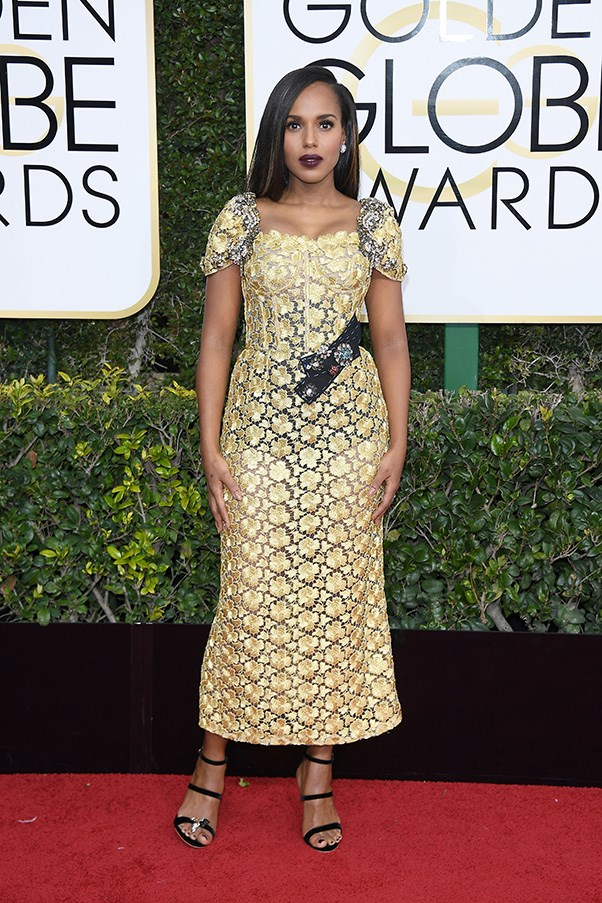 """<strong>Kerry Washington in Dolce & Gabbana and Sophia Webster shoes</strong><br><br> """"I love this dress and I love Kerry but I think the makeup is too heavy for this look."""" - Aubree Smith, fashion office coordinator"""