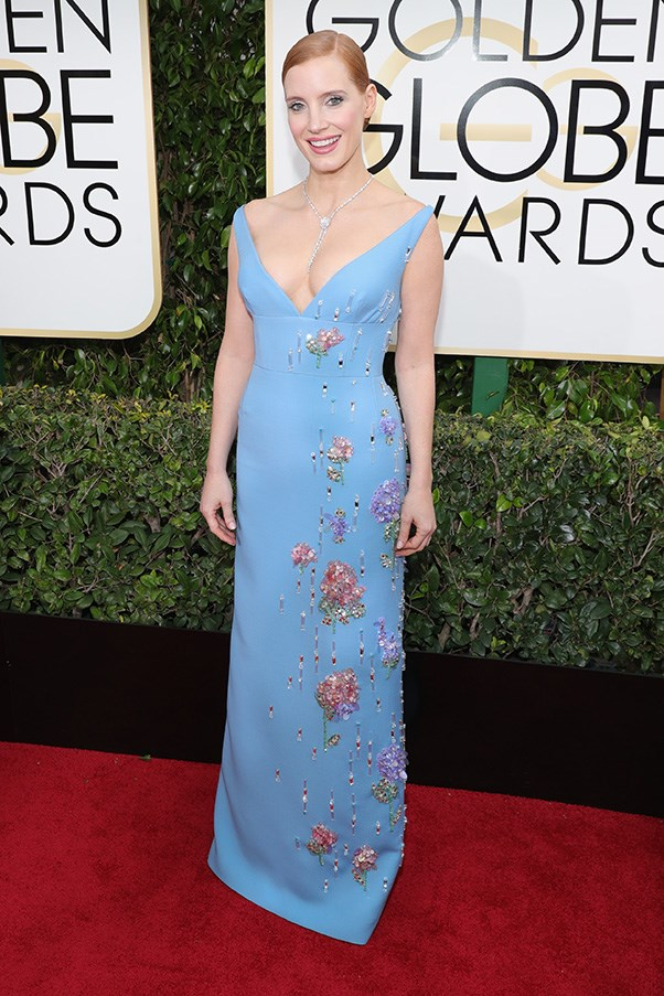 """<strong>Jessica Chastain in Prada</strong><br><br> """"The cut and silhouette of this dress is divine."""" - Caroline Tran, market editor"""
