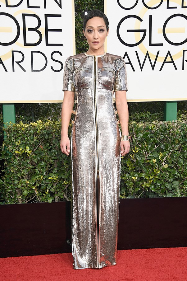 """<strong>Ruth Negga in Louis Vuitton</strong><br><br> """"This is just the right mix of old Hollywood glamour and flashy futurism. A (style) star is born."""" - Clare Maclean, executive editor<br><br> """"This is really very good. It is both elegant and modern, and sends a very strong statement that awards season does not mean to hell with fashion and to town with the tizz. This is my favourite."""" - Karla Clarke, senior fashion editor<br><Br> """"This Louis Vuitton gown is a home run after months of perfect looks on the press circuit for <em>Loving</em>. I'm pretty much obsessed with Ruth Negga at the moment."""" - Grace O'Neill, acting digital fashion editor"""