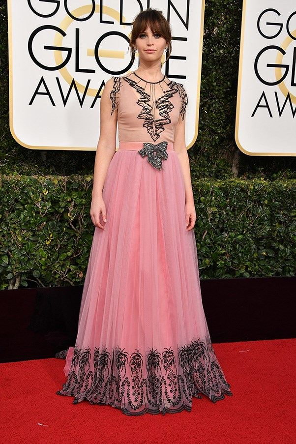 """<strong>Felicity Jones in Gucci</strong><br><br> """"Felicity looks totally flawless in this dress. This is definitely my favourite look!"""" - Aubree Smith, fashion office coordinator"""