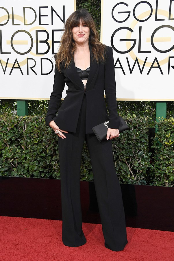 """<strong>Kathryn Hahn</strong><br><br> """"She obvs just finished reading 'How to be Parisian'."""" - Anna Lavdaras, beauty writer<br><br> """"I like that she is going against the grain but we don't need to see her bra albeit some kind of leather/satin situation. Perhaps it would have been better to ditch altogether."""" - Karla Clarke, senior fashion editor"""