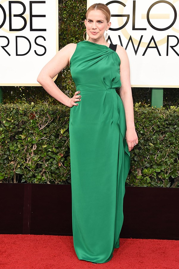 """<strong>Anna Chlumsky in Roland Mouret</strong><br><br> """"The combination of the haphazardous fabric draping around the bust, bold colour choice and high-cut, asymmetrical neckline means Anna Chlumsky's dress doesn't do anything for me (or Anna)."""" - Natasha Harding, digital fashion writer"""