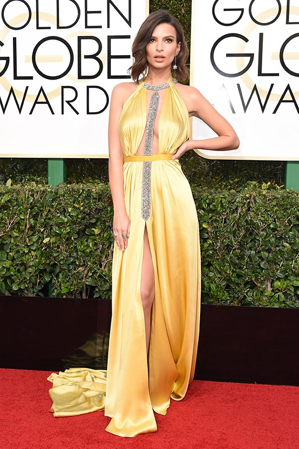 """<strong>Emily Ratajkowski in Reem Acra</strong><br><br> """"A soft, buttery hue, sexy cut-out style and a touch of glitter embellishment? T his gown was practically made for Emily Ratajkowski."""" - Natasha Harding, digital fashion writer"""