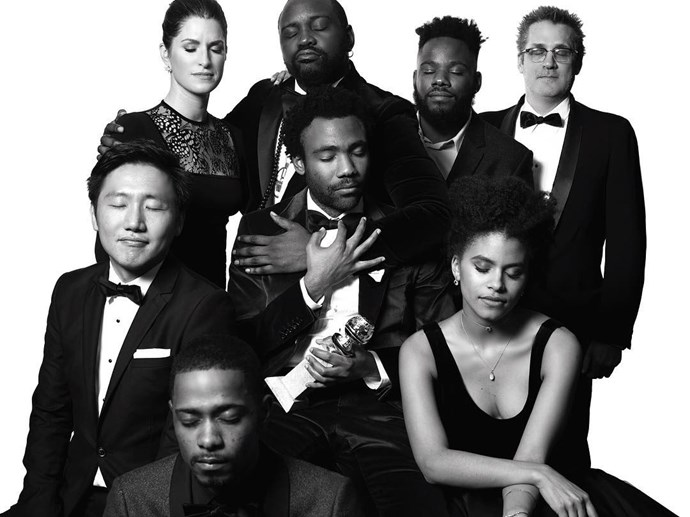 "The cast of <em>Atlanta</em>. <br><br> Image: <a href=""https://www.instagram.com/p/BPBtd7BDIFx/"">@goldenglobes</a>"