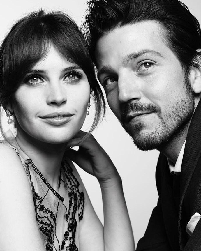 "Felicity Jones and Diego Luna. <br><br> Image: <a href=""https://www.instagram.com/p/BPByNjCDfPW/"">@goldenglobes</a>"