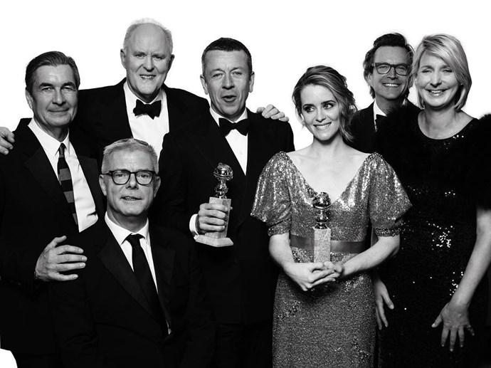 """The cast of <em>The Crown</em>. <br><br> Image: <a href=""""https://www.instagram.com/p/BPB8xtWj_r-/"""">@goldenglobes</a>"""