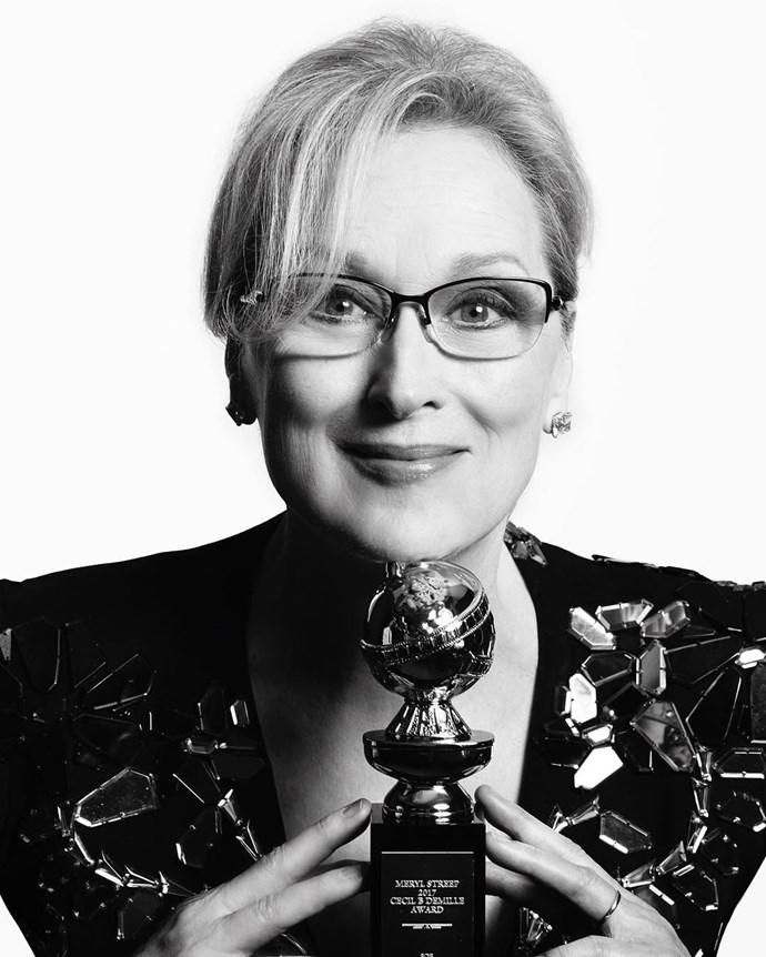"Meryl Streep. <br><br> Image: <a href=""https://www.instagram.com/p/BPCH_9QD8LN/"">@goldenglobes</a>"
