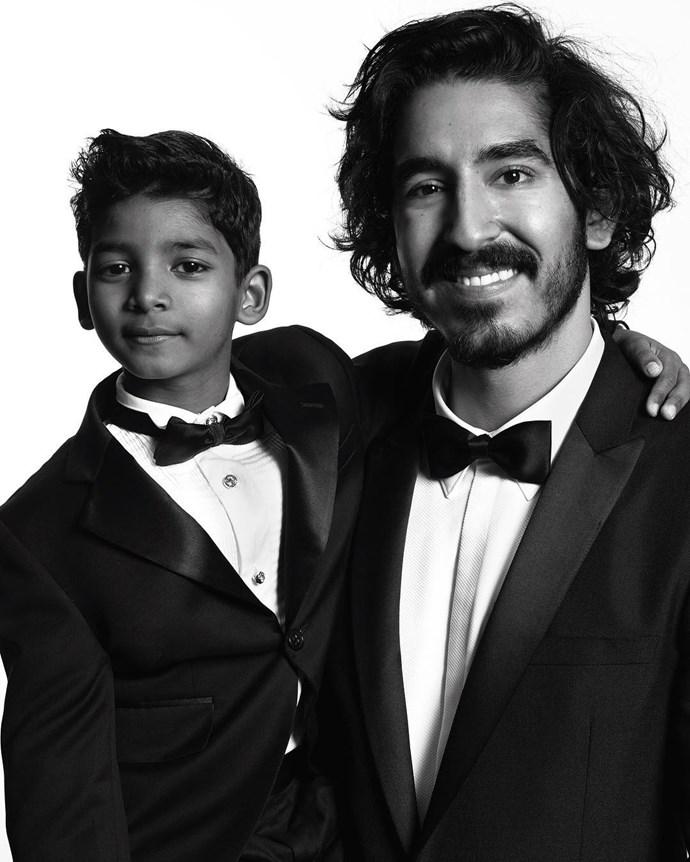 """Sunny Pawar and Dev Patel. <br><br> Image: <a href=""""https://www.instagram.com/p/BPCMCM0DCka/"""">@goldenglobes</a>"""