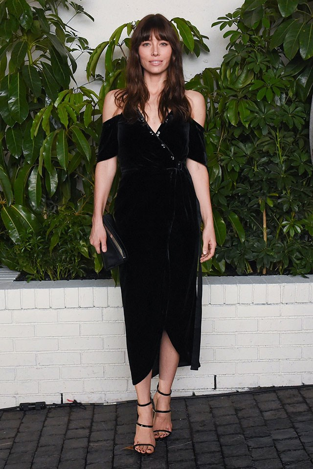 """<strong>Manning Cartell</strong> <br></br> Jessica Biel stepped out at one of the Golden Globe after parties wearing this cold-shoulder Manning Cartell's Divine Excess Wrap Dress. While this style has sold out, get the look with MC's Eye Spy Dress <a href=""""http://www.manningcartell.com.au/dresses/eye-spy-dress.html"""">here</a>."""