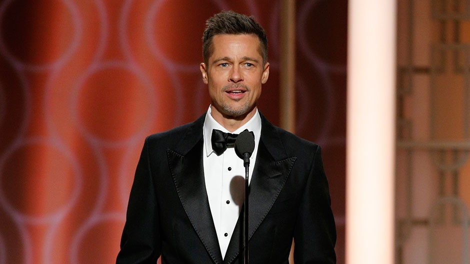 Brad Pitt Presenting Moonlight at 2017 Golden Globes