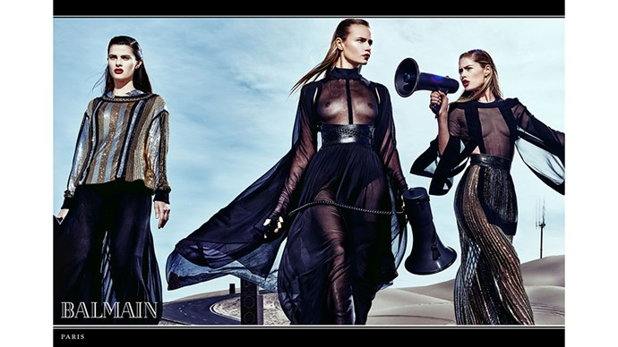 <strong>Balmain</strong><br><br> Modelled by Isabeli Fontana, Natasha Poly and Doutzen Kroes, shot by Steven Klein.
