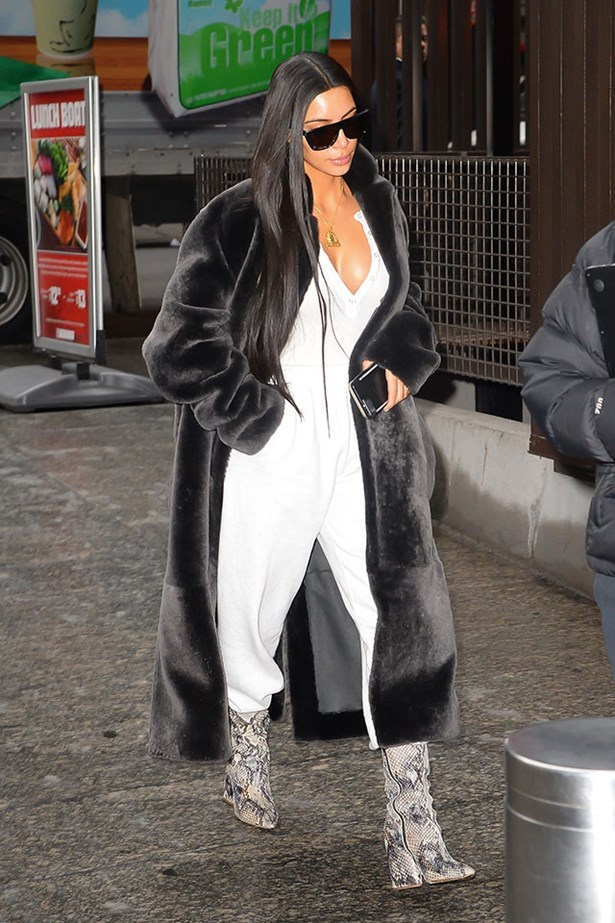 <strong>January 17th, 2017</strong><br><br> Kim stepped out in a tracksuit, paired with a velvet coat and crocodile skin boots in New York city.