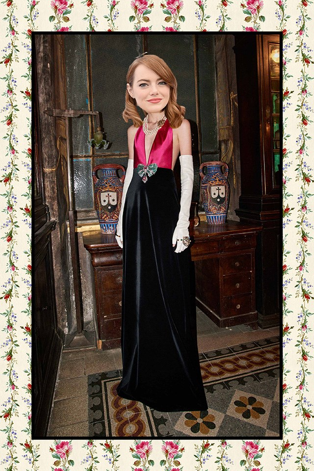 <strong>Emma Stone</strong><br><br> Her Valentino gown at the Globes was nothing short of fabulous so there's every chance Stone will go back there again – but, on the other hand, is it time for some Gucci? This pre-fall option could work (we know she can pull off pink). I'm also weirdly loving the signature Alessandro Michele OTT styling in this lookbook shot for her too.