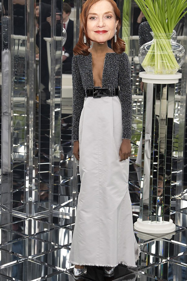 <strong>Isabelle Huppert</strong><br><br> The French actor and nominee for <em>Elle</em> loves a bit of Armani, it's also not uncommon to see her on a Chanel frow either. She opted for Armani Prive at the Globes so my money is on Chanel for the Oscars. The silhouette on this S/S 17 couture gown echoes many of her previous red carpet looks, and she also loves a long sleeve. I think it's a winner.